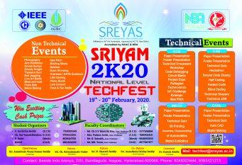 SRIYAM 2K20, Two days National Level Tech Fest at Sreyas Institute