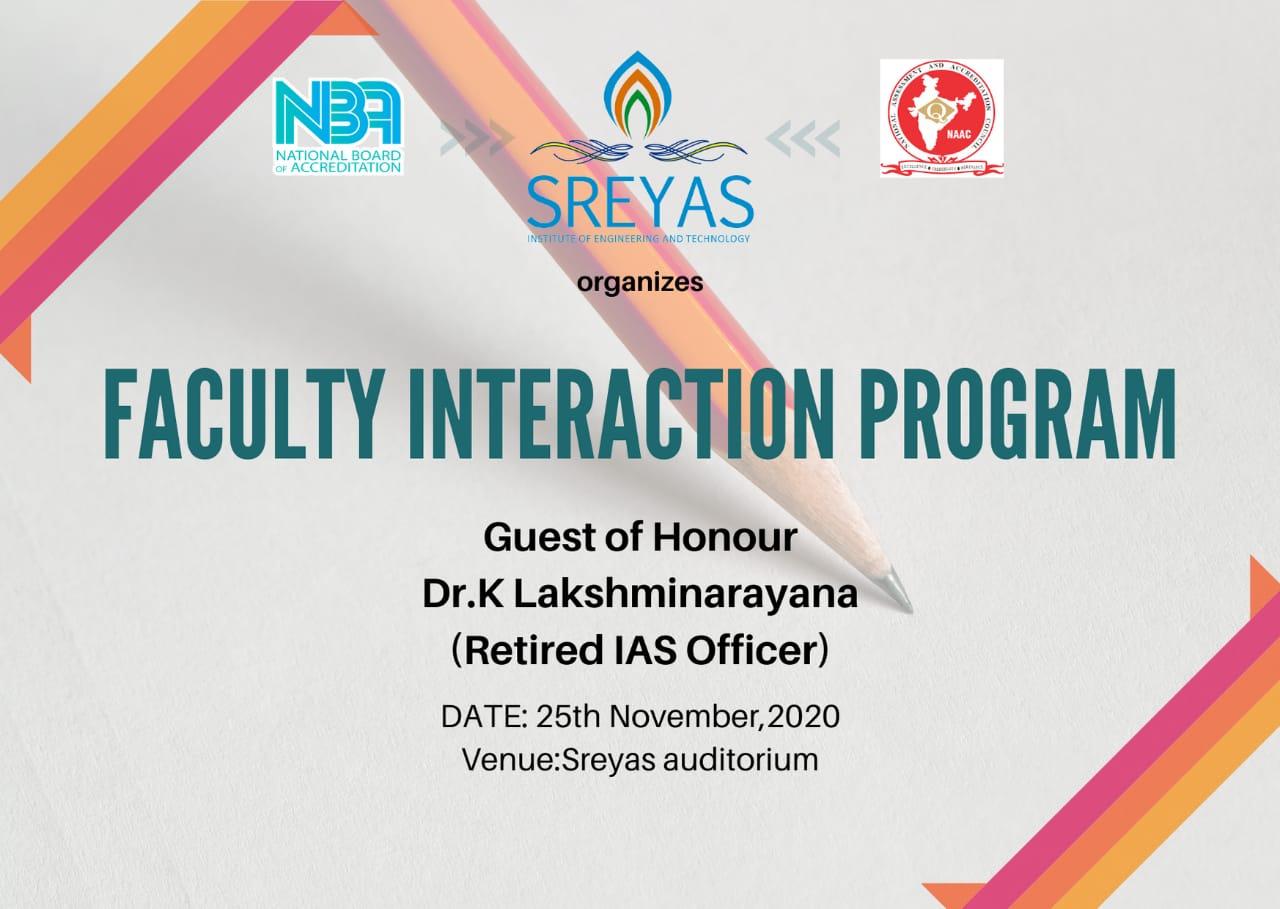 Faculty Interaction Program on 25th November, 2020